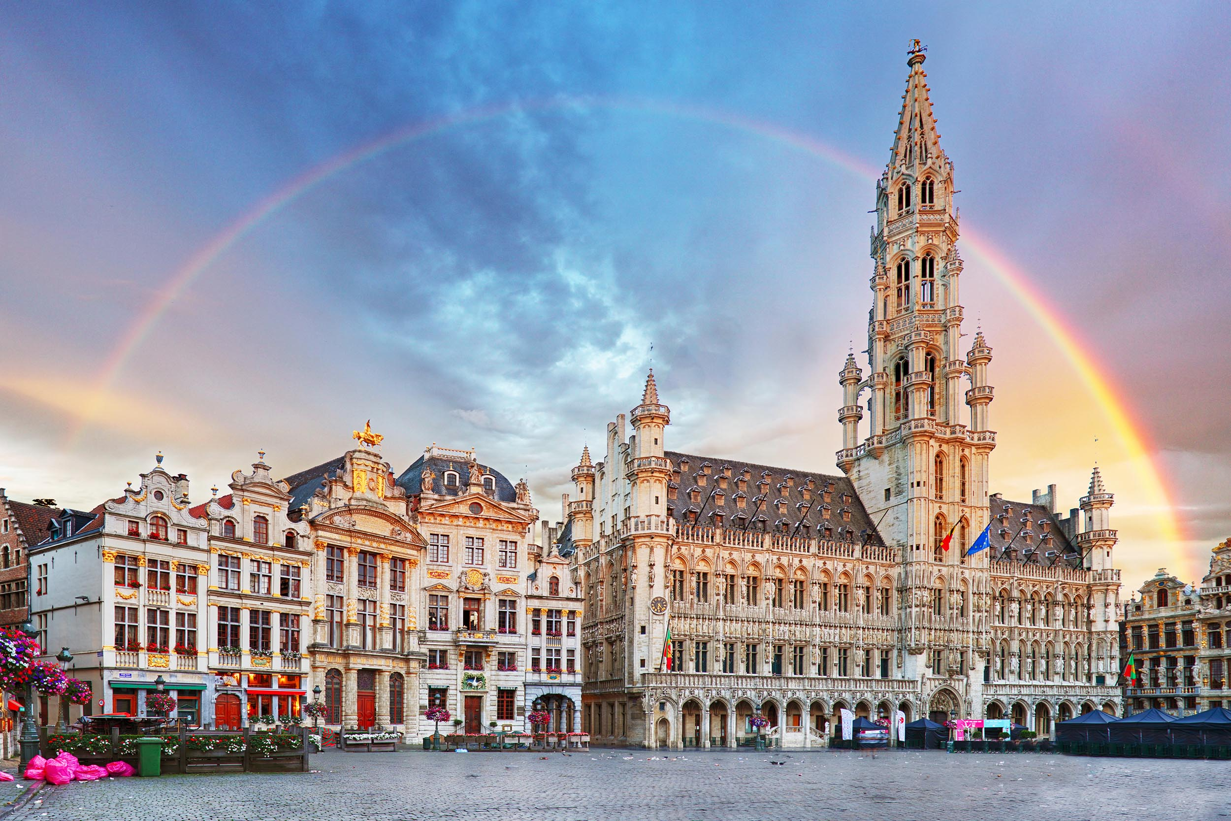 Brussels, rainbow over Grand Place, Belgium, nobody; Shutterstock ID 712426702; Purchase Order: -