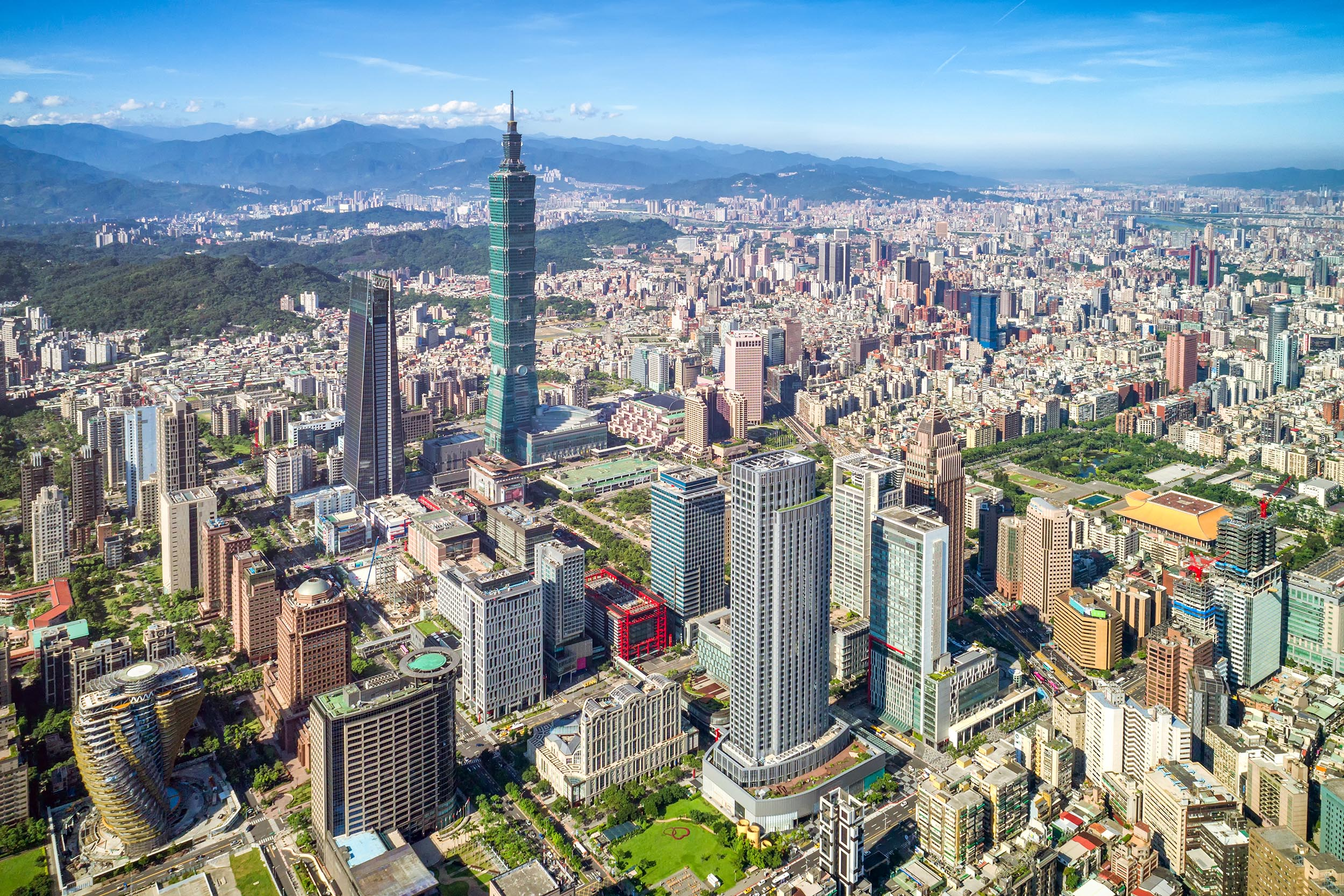 Beautiful scenery of Taipei City with lardge modern builings and skyscrapers   Taipei 101 in Xinyi District, Taipei, Taiwan; Shutterstock ID 750554854; Purchase Order: -